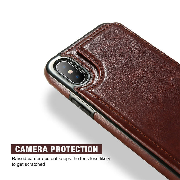 KISSCASE Retro Flip Leather Case For iPhone XS XR X 10 7 8 Plus Card Holder Vertical Wallet Case For iPhone 5 5s SE XS Max 6 6s - iDeviceCase.com