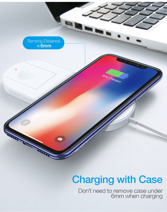RAXFLY Wireless Charger For iPhone X 8 XR XS Max For Apple i Watch 2 3 10W Qi Wireless Charge For Samsung S7 S8 S9 Plus Note 8 9 - iDeviceCase.com
