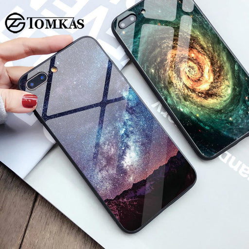 TOMKAS Glass Phone Case For iPhone X 7 8 10 6 s XS Star Space Cover Case For iPhone 8 7 6 6s Plus X Luxury Case Silion TPU Coque - iDeviceCase.com