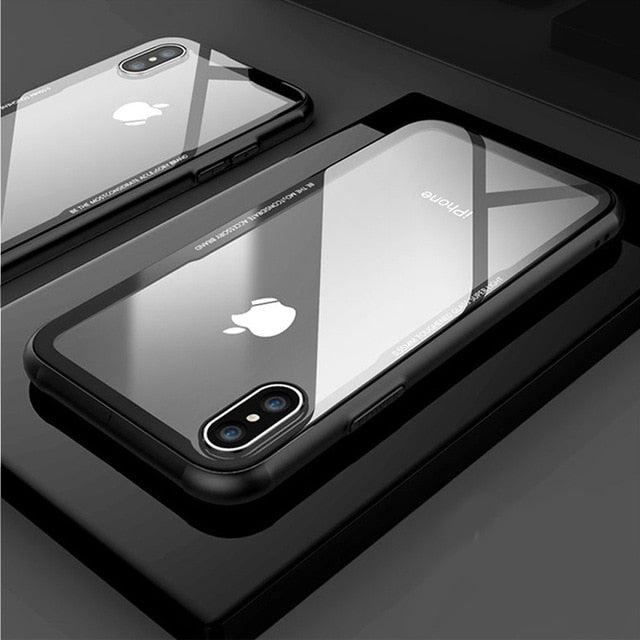 FLOVEME Tempered Glass Phone Case For iPhone X Xs Max Transparent Protective Glass Cases For iPhone Xs XR X Cover Coque Capinhas - iDeviceCase.com