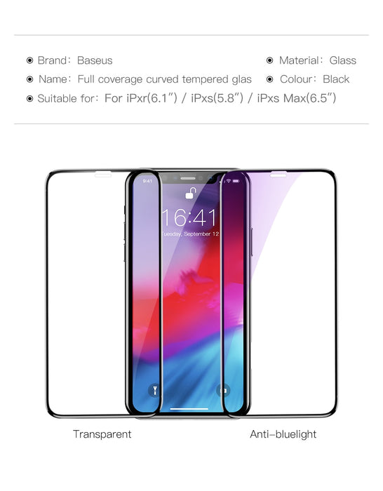 Baseus 0.3mm Screen Protector Tempered Glass For iPhone Xs XR Xs Max Full Front Cover Film Protective Toughened Glass Film - iDeviceCase.com