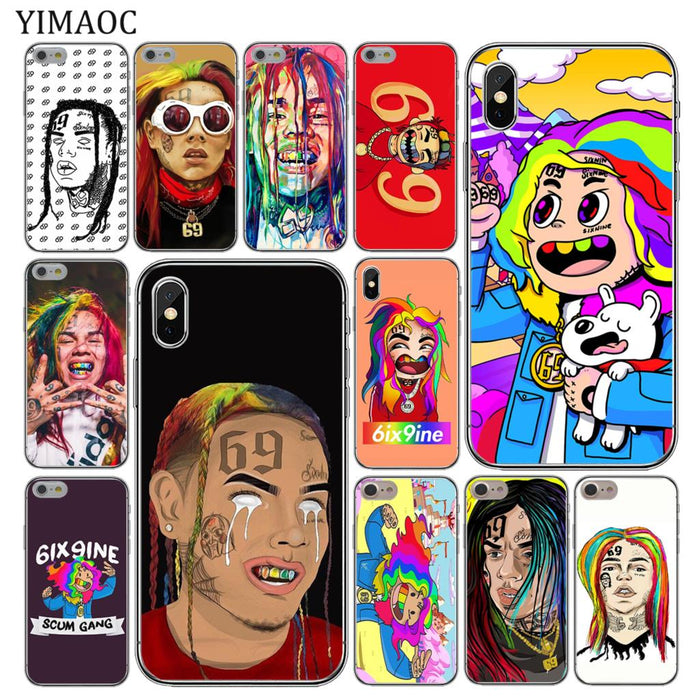 YIMAOC hip hop rapper Tekashi 69 6ix9ine Slim Soft Silicone Phone Case for iPhone XS Max XR X 6 6S 7 8 Plus 5 5S SE 10 TPU Cover - iDeviceCase.com
