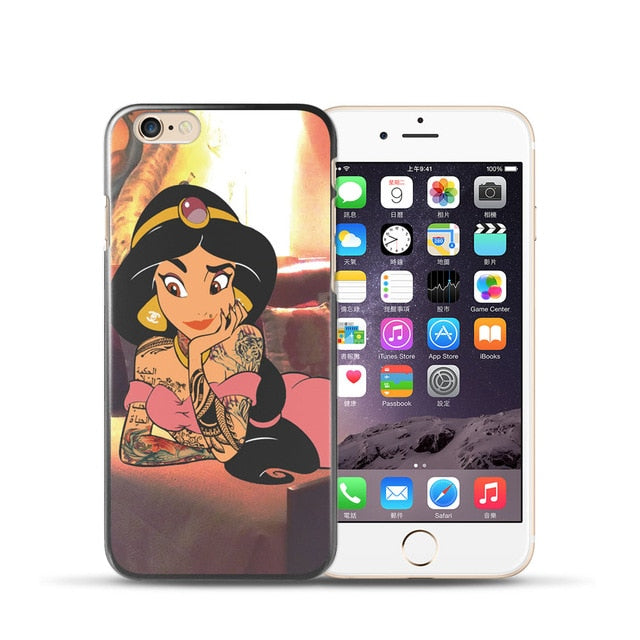 For coque iPhone 6S case 5 5S SE 6 6S 7 8 Plus case Tattoo for iPhone XS Max case Punk Princess for iPhone X XR case - iDeviceCase.com