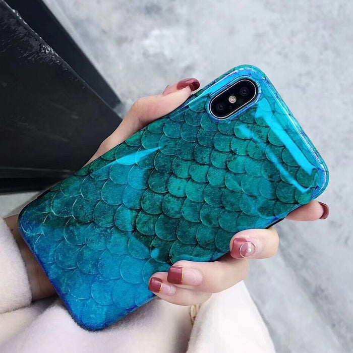 LOVECOM Blu-Ray Phone Case For iPhone XS XR XS Max X 8 7 6 6S Plus Laser Blue Fish Scale Soft IMD Retro Phone Back Cover Cases - iDeviceCase.com