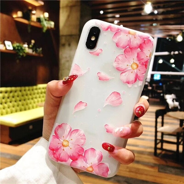 LOVECOM Fashion Floral Phone Case For iPhone XS XR XS Max X 8 7 6 6S Plus Matte Soft TPU Flower Phone Back Cover Coque Gift - iDeviceCase.com