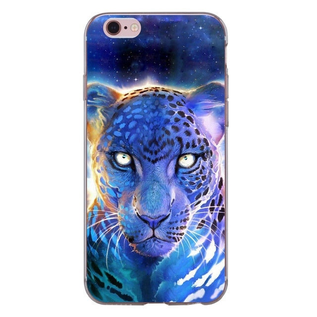 For iphone XS Max XR X 8 7 6 6S Plus 5 5S SE 5C 4S Case Soft TPU Silicone Cool Lion Tiger Panther Wolf Deer Owl Phone Back Cover - iDeviceCase.com