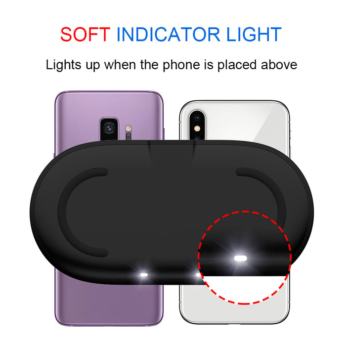 Ascromy 2in1 10W Wireless Charger Pad for iPhone X XR XS Samsung Galaxy S9 Plus S8 Note 8 Fast Dual QI Induction Charging Stand - iDeviceCase.com