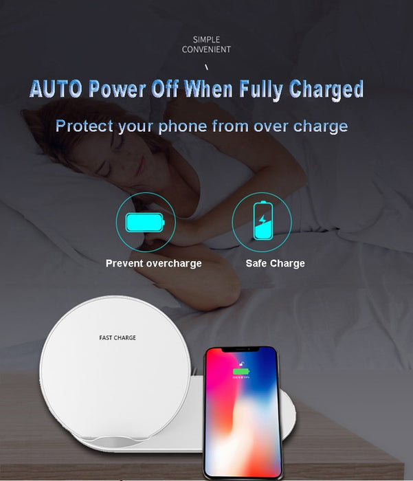 2 In 1 QI Wireless Charger for iPhone X XS MAX iWatch 1 2 3 4 Airpods Samsung Gear S2 S3 S4 Note 9 Watch Fast Wireless Charger - iDeviceCase.com
