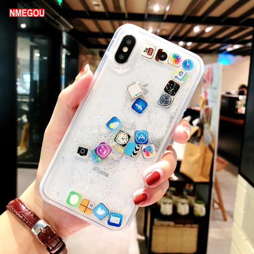 For IPhone Xs Max Xr X 6 6s 7 8 Plus Liquid Glitter Quicksand Silicone Soft Tpu Case Cute Coque Water Cover for Apple App Icon - iDeviceCase.com