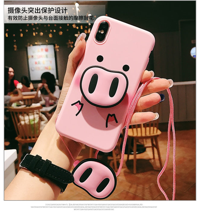 For iPhone Xs Max Xs Case Pig TPU Case Pig Nose Soft TPU Phone Strap Rope Case For iPhone 5 5s SE 6 6s 6sPlus 7 8 8Plus X - iDeviceCase.com