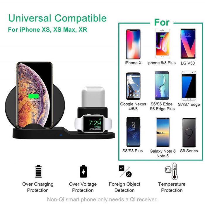 10W Qi Wireless Charger For Iphone X 7 8 Plus 3 IN 1 Fast Chargeur Quick Charge For Apple Watch Airpods Cargador Inalambrico - iDeviceCase.com