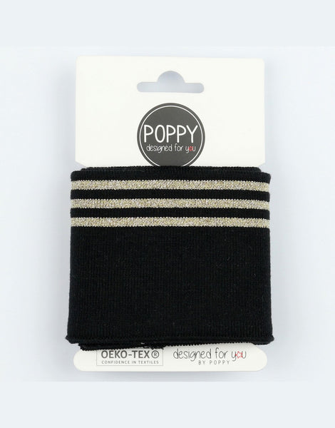 Black and Gold Triple Striped Cuffing by Poppy