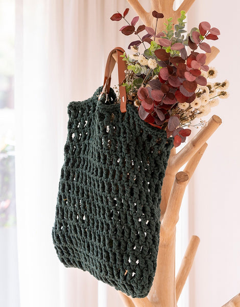 Pine Green Tiago Crochet Bag Kit, Hoooked