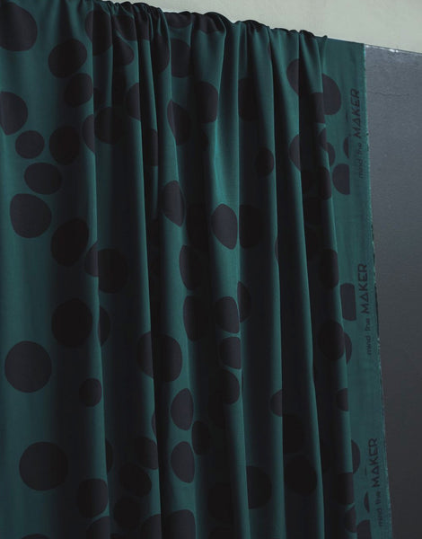 Deep Green Khaki About a Dot EcoVero Viscose Fabric, Mind the Maker