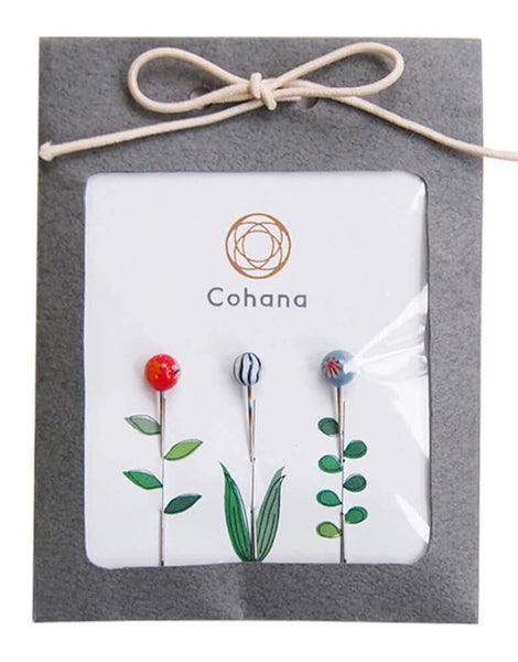 Glass Headed Flower Pins from Cohana