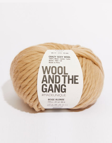 Crazy Sexy Wool Yarn, Wool and the Gang, Beige Blonde