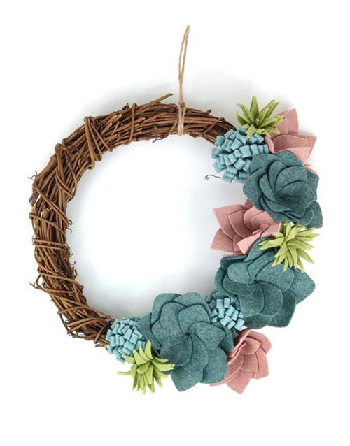 Succulent Felt Wreath Craft Kit, Crafty Kit Company