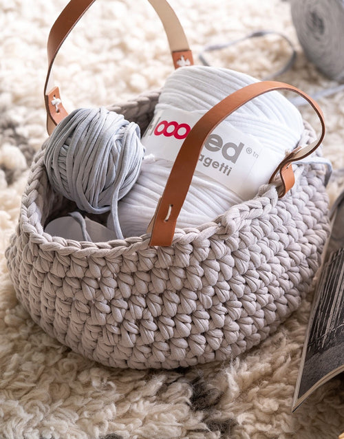 Panama Beige Crochet Storage Basket with Handles Kit, Hoooked