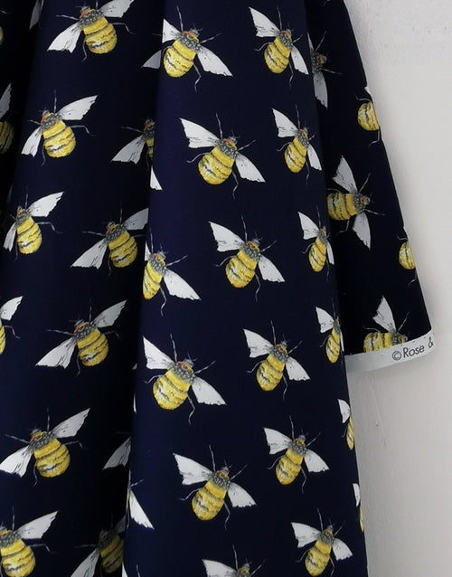 Bumble Bee on Navy Printed Cotton Poplin Fabric