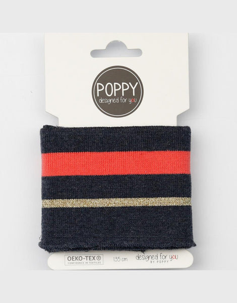 Navy Melange with Coral & Gold Striped Cuffing by Poppy