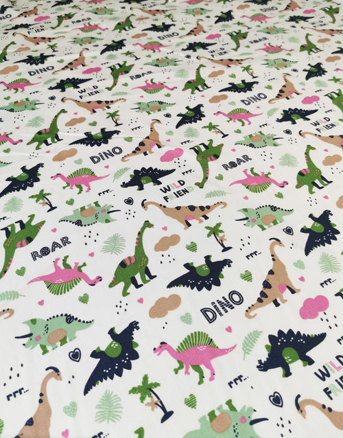 Green & Pink Roar Dinosaurs, Printed Cotton Fabric