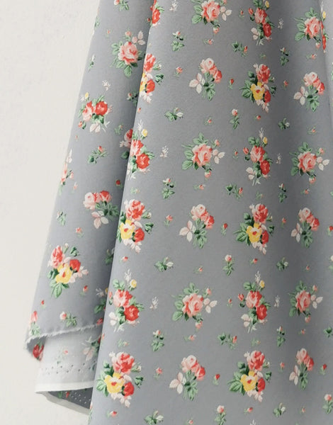 Floral Bouquet on Grey Printed Cotton Poplin Fabric