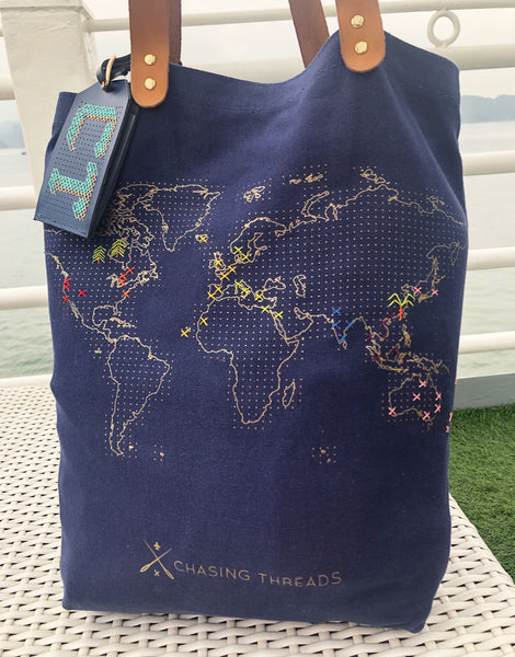 Navy Stitch Where You've Been Tote Bag, Chasing Threads