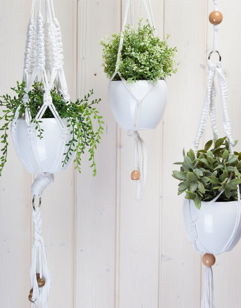 Hanging Basket Macrame Kit, Zpagetti Cotton White