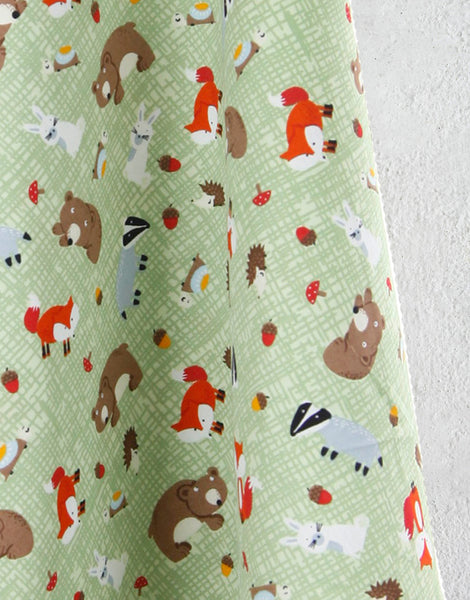 Woodland Animals Green Printed Cotton Fabric