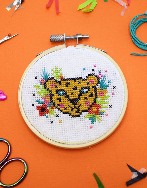 Tropical Leopard Mini Cross Stitch Kit, The Make Arcade