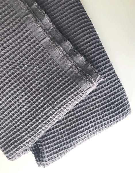 Dark Grey Cotton Waffle Cloth