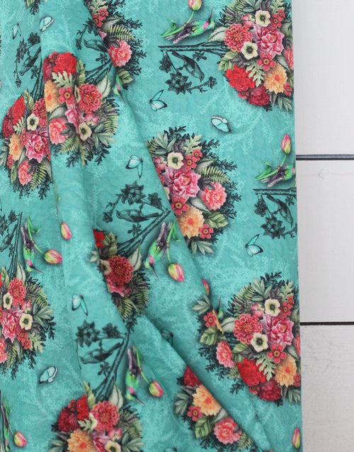 Kingfisher Bouquet Printed Cotton Fabric