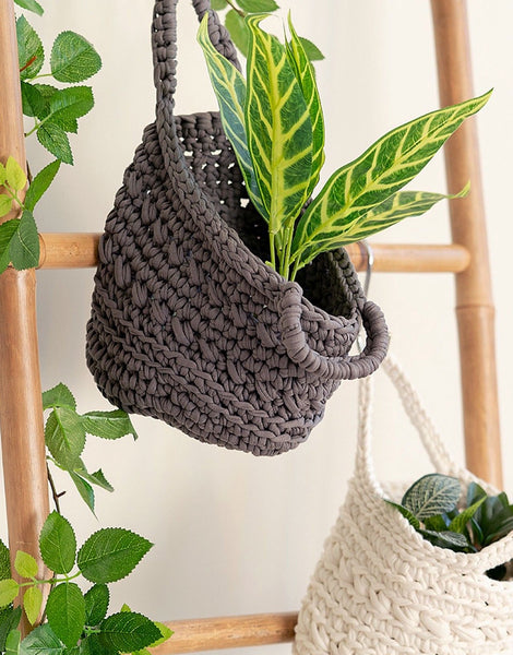 Anthracite Revisto Crocheted Basket Kit, Hoooked Zpagetti