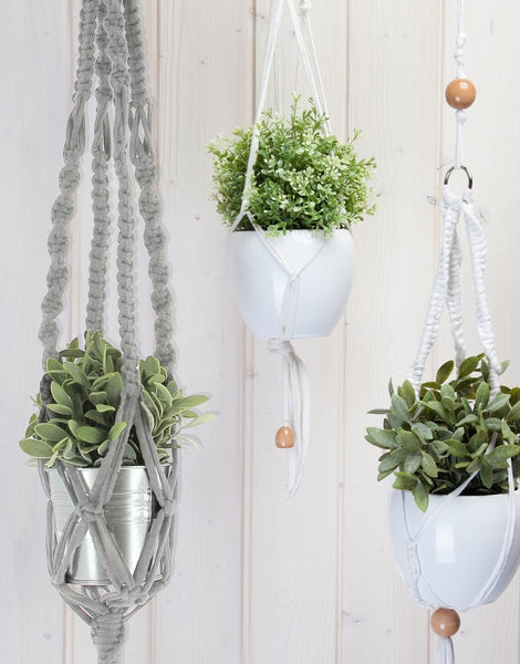 Hanging Basket Macrame Kit, Zpagetti Gravel Grey