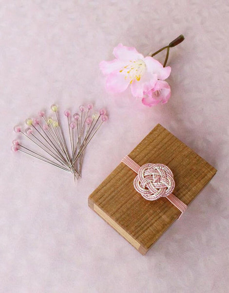 Sakura Glass Headed Pins in Wooden Box from Cohana