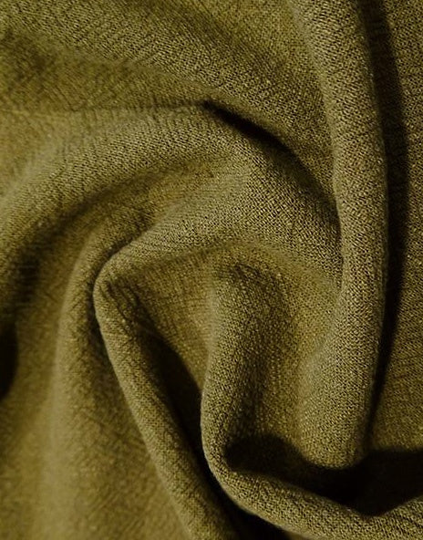 Khaki Stonewashed Linen Fabric