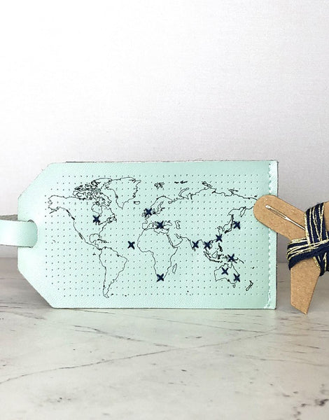 Mint Luggage Tag 'Stitch Where You've Been', Chasing Threads Stitch Kit