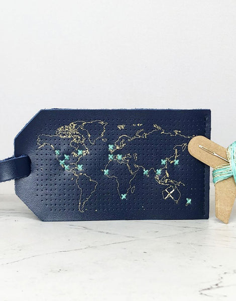 Navy Luggage Tag 'Stitch Where You've Been', Chasing Threads Stitch Kit
