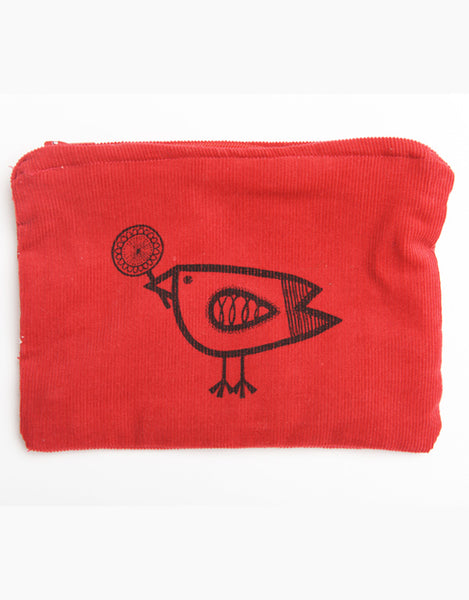 Birdie Red Babycord Big Purse Sewing Kit