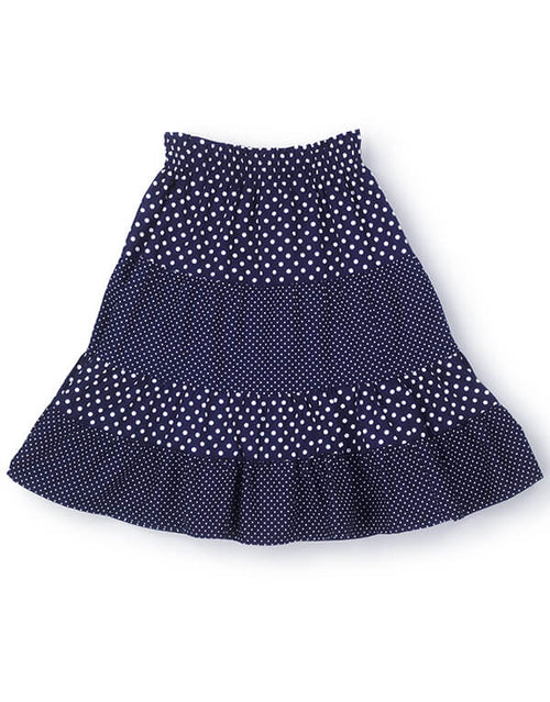 Tiered Dress or Skirt, Children's Dressmaking Kit, Navy & White Polka Dots