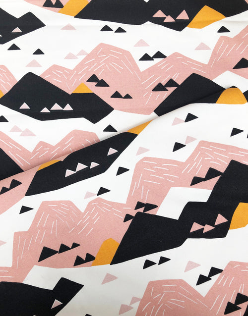 Pink Mountain, Wildlife By Ophelia Pang, Cloud 9 Organic Cotton Canvas Fabric