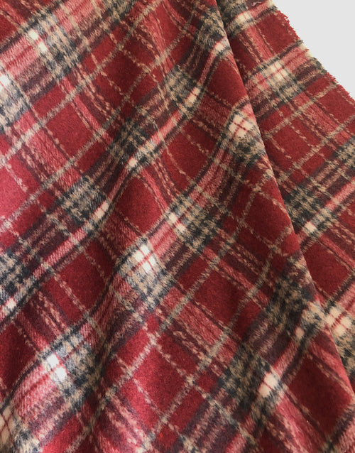 Narvic Red Tartan Wool Blend Coating Fabric