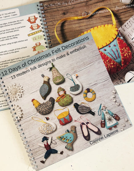12 Days of Christmas Embroidered Felt Decorations Book by Corinne Lapierre