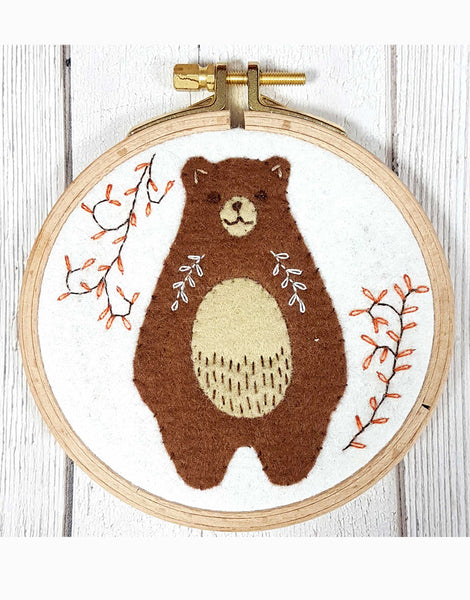 Bear Applique Embroidered Hoop Kit by Corinne Lapierre