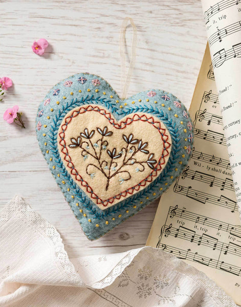 Felt Heart Embroidered Mini Craft Kit by Corinne Lapierre