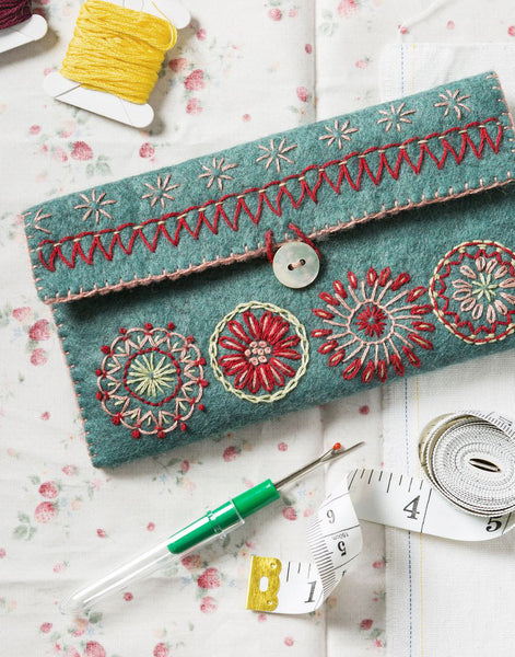 Sewing Pouch Embroidered Felt Craft Kit by Corinne Lapierre