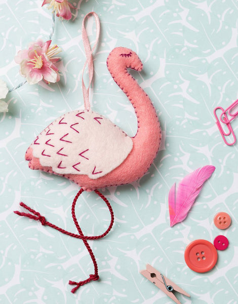 Flamingo Embroidered Felt Mini Craft Kit by Corinne Lapierre