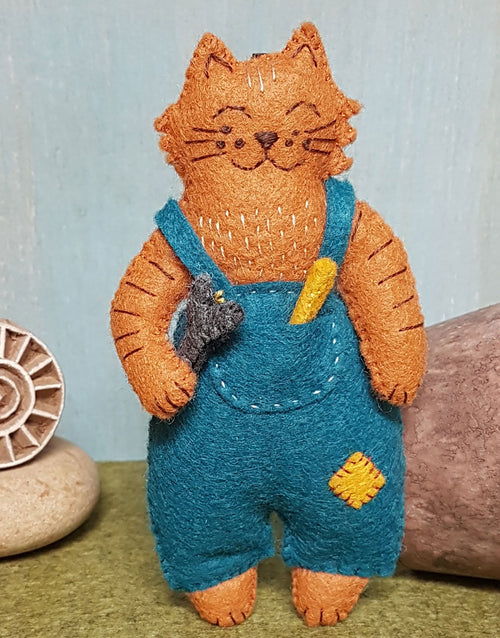 Mr. Cat Mechanic Embroidered Felt Craft Kit by Corinne Lapierre