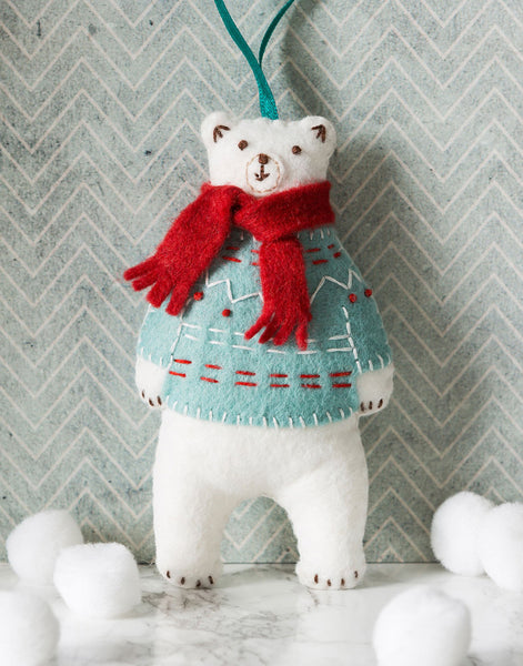 Polar Bear Embroidered Felt Mini Christmas Craft Kit by Corinne Lapierre