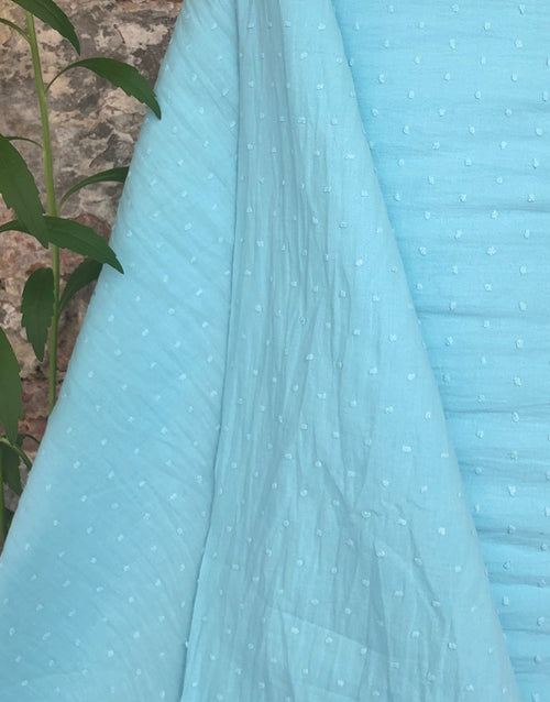 Turquoise Dobby Cotton, Swiss Knot Fabric